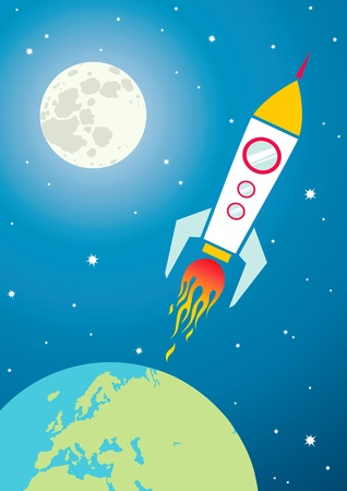 cohetes: Ilustraci�n de una nave espacial en el espacio
