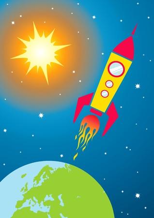 shuttle: Illustratie van een ruimtevaartuig in de ruimte Stock Illustratie