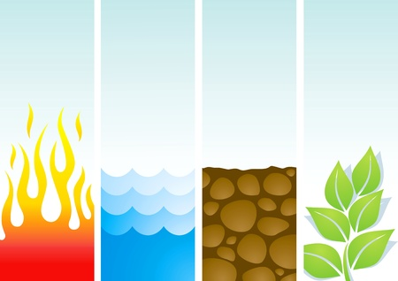 Four illustrations of the elements fire, water, soil and plants Illustration