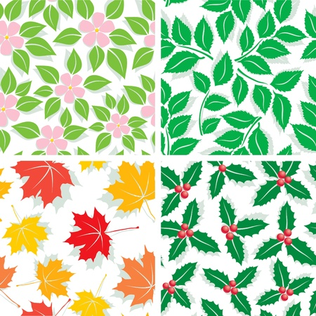 Seamless Patterns of the four seasons of spring, summer, autumn and winter Stock Vector - 10272954