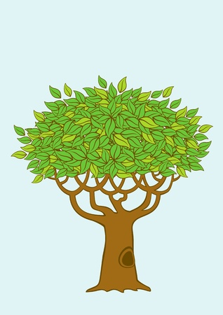 Illustration of a tree with green foliage Illustration