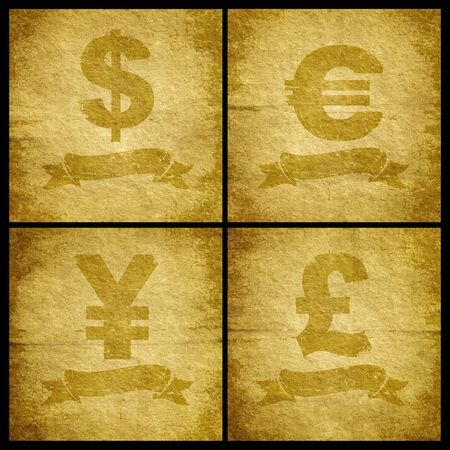 Four currency symbol for the old cracked paper photo