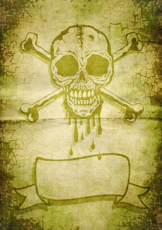 Skull and crossbones painted on old paper photo