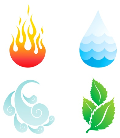 Illustrations of four natural elements of fire, water, wind and plants