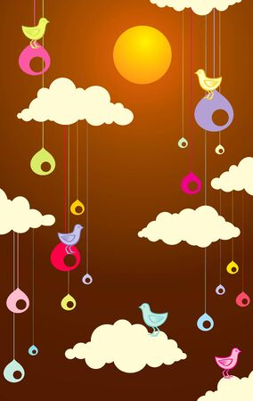 llustration of birds in the clouds on a summer day Stock Vector - 10330486