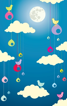 Illustration of birds in the clouds at night under the moon Stock Vector - 10330487