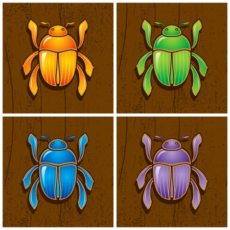 cartoon egyptian:  Illustrations of beetles on wooden background