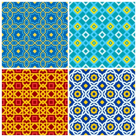 arabic style: Four bright, colorful seamless geometric patterns Illustration