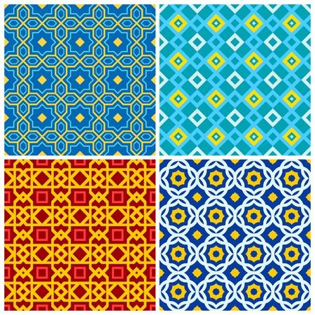 arabisch patroon: Vier heldere, kleurrijke naadloze geometrische patronen Stock Illustratie