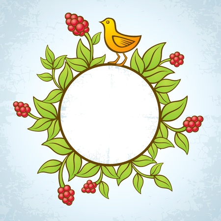 Illustration of birds and plants with berries Vector