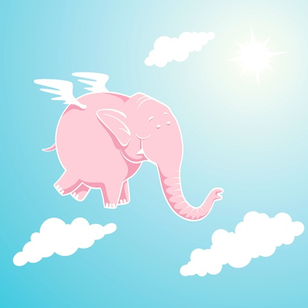 easy: Pink elephant flying through the sky