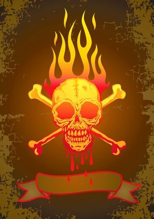 dientes sucios: Ilustraci�n del cr�neo en llamas con la sangre que fluye