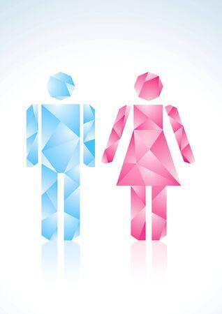 restroom: Origami men and women of color paper