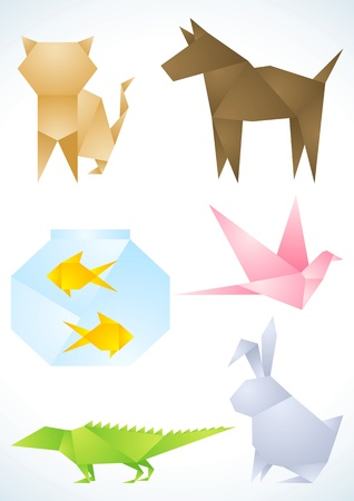 puppy and kitten: Origami pets made out of colored paper Illustration