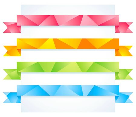 Set of four colorful origami ribbon Vector