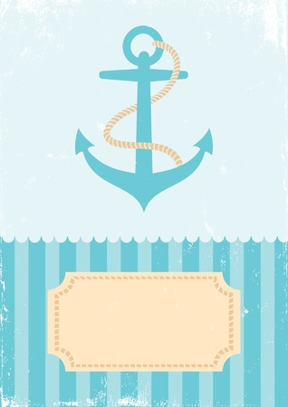 Retro Illustration anchors on turquoise background Stock Vector - 10414831