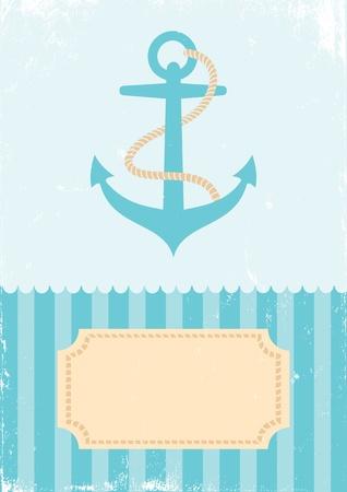 Retro Illustration anchors on turquoise background