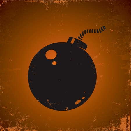 Illustration of grunge style bomb on the dark background Illustration