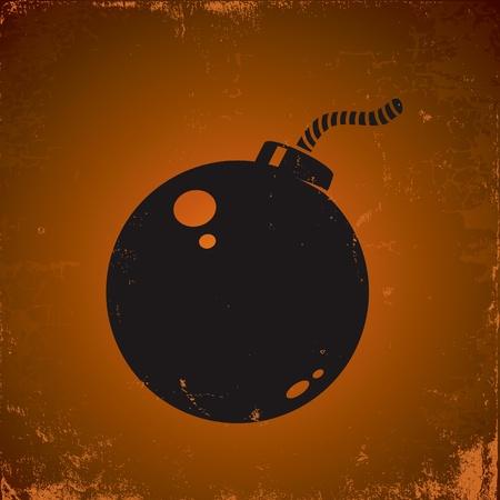 bomba a orologeria: Illustrazione di bomba stile grunge sullo sfondo scuro