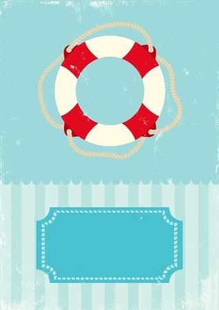 aro salvavidas: Ilustraci�n retro de boya de vida marina