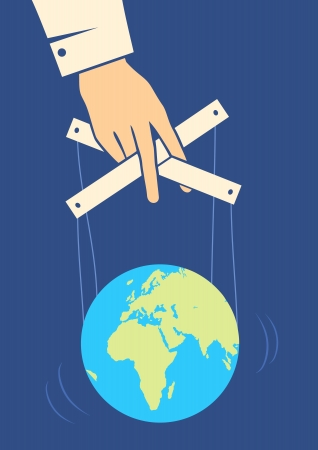 Hand controls the Earth like a puppet Stock Vector - 10414825