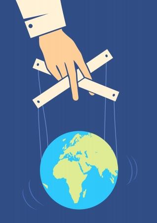 marioneta de madera: Mano controla la tierra como una marioneta