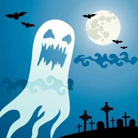 ghost face: Fantasma nel cimitero una notte illuminata dalla Luna Vettoriali