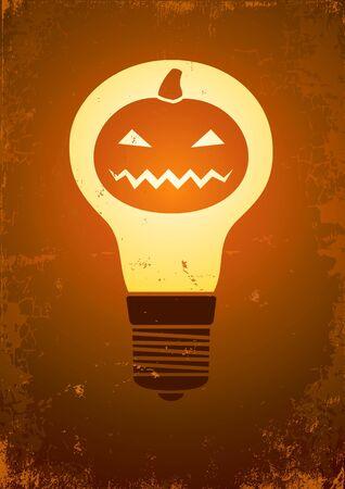 Burning light bulb inside the pumpkin Vector
