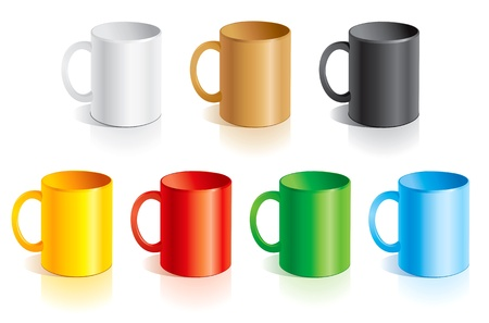 glass cup: Vector templates mugs of different colors