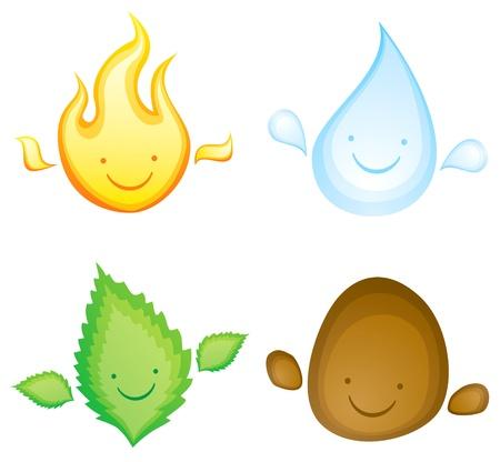 Cuatro elementos en forma de personajes sonrientes