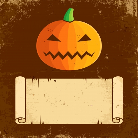 Illustration Pumpkin Halloween and paper scroll