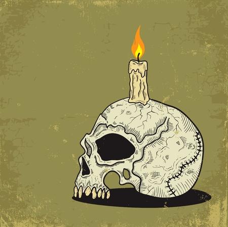Ilustración de un cráneo con una vela Ilustración de vector