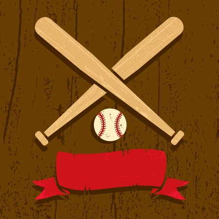 Illustration of a baseball on a wooden background Vector
