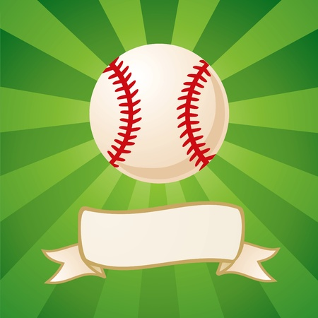 suture: Baseball on a bright green background Illustration