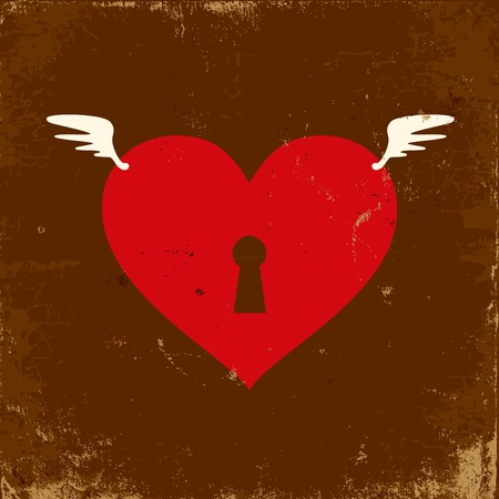Retro illustration of the heart with wings Vector