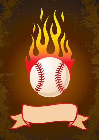 Burning a baseball with a ribbon Stock Vector - 10543740