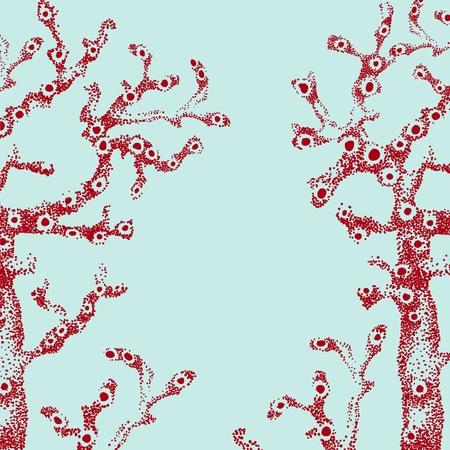 Retro illustratie van rode koraal onderwater