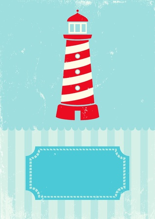 Retro illustration lighthouse on turquoise background