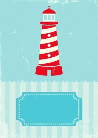 Retro illustration lighthouse on turquoise background