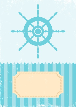 nautical vessels: illustration of the wheel on turquoise background
