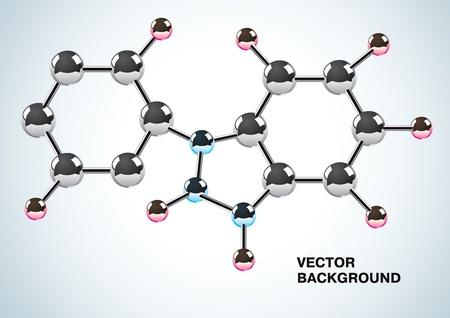 Ilustración de la fórmula química constituida por moléculas
