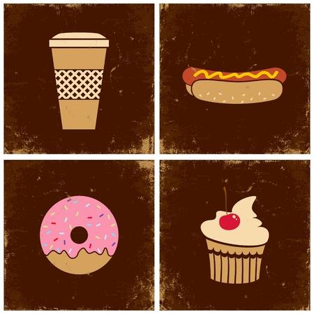 beignet: Illustrations de la tasse de caf�, des hot-dogs, des beignes et des g�teaux Illustration