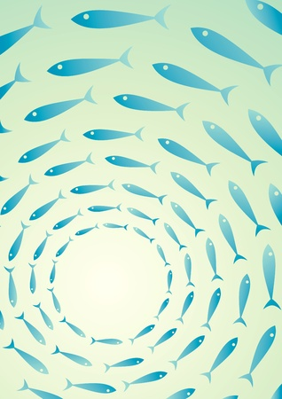 Illustration shoals of fish in the sea Vector