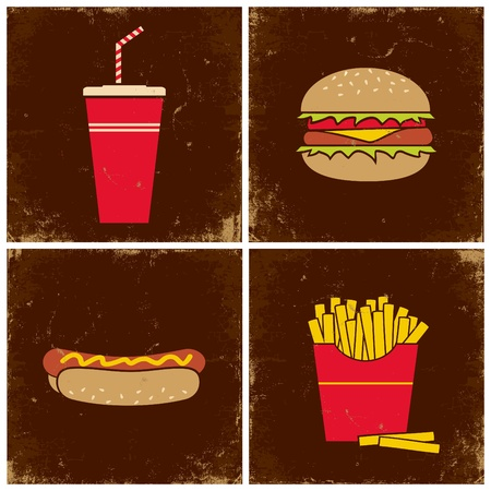 Illustrations cola, a hamburger, french fries and hot dogs
