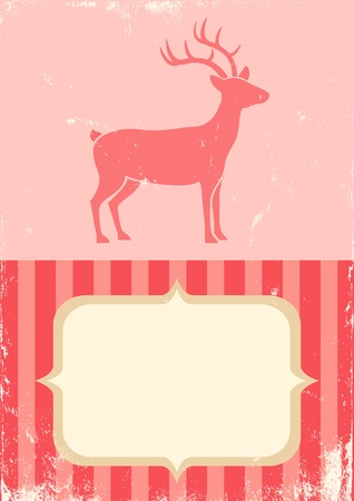 Illustration of Christmas deer in vintage style Vector