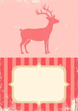 Illustration of Christmas deer in vintage style Vector