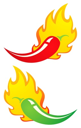 illustration of two hot peppers chili in a flame