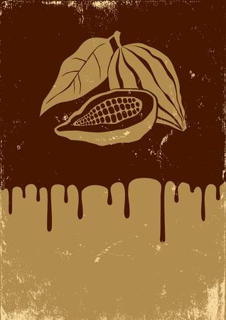 ココア: ココアおよびチョコレートのレトロなイラスト