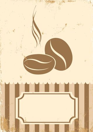 Retro illustration of coffee beans on paper Vector