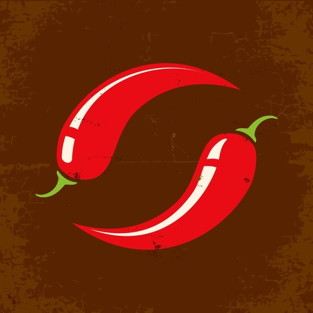 chili: Retro illustration of two chili peppers
